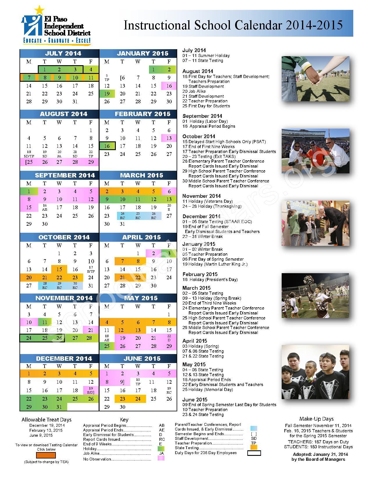 2014 - 2015 Calendar – El Paso Independent School District – page ...