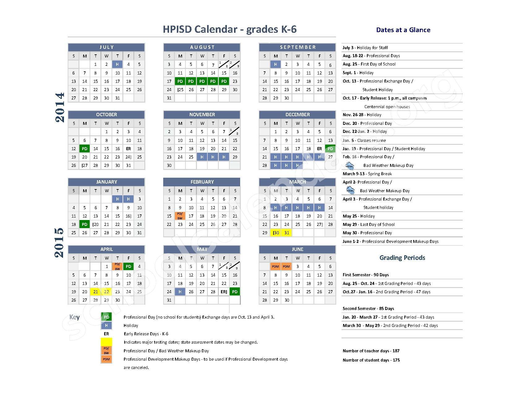 2014 2015 School Calendar