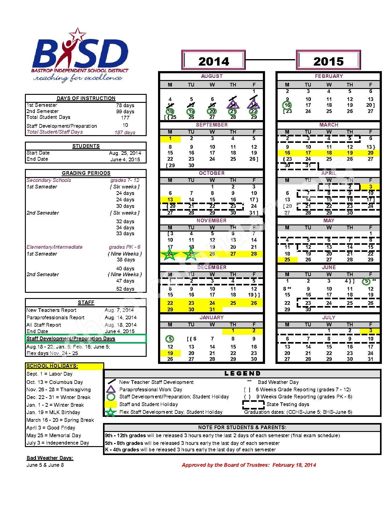 2014 2015 High School Calendar