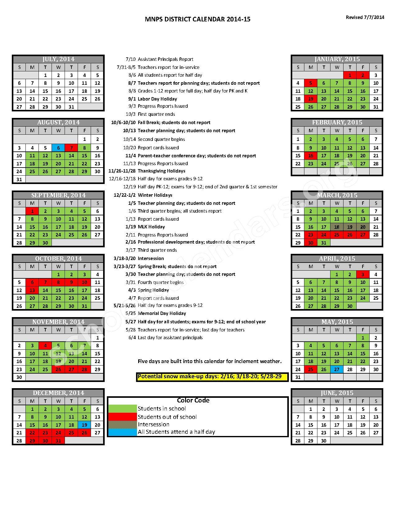 Mnps Nashville Calendar 2016 2017 | Calendar Template 2016