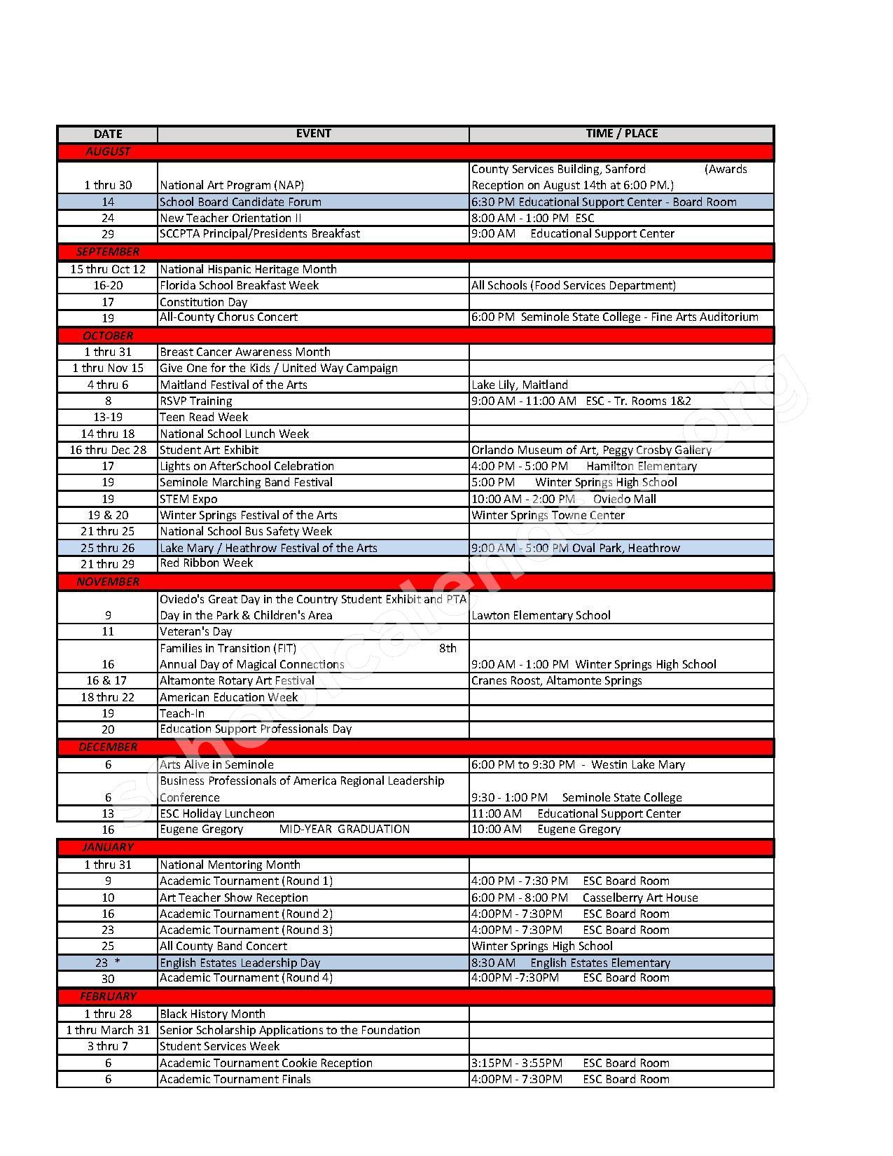 School Event Calendar Events Calendar – Sterling