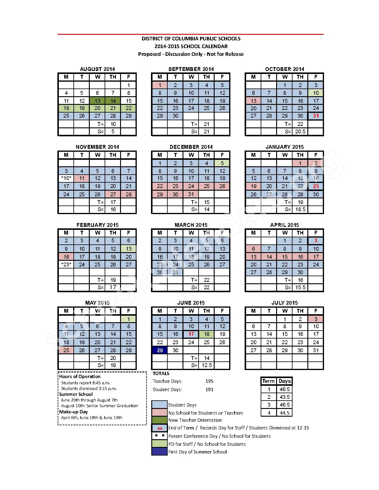 Enchanting Elementary School Calendar Template Pictures - Examples ...