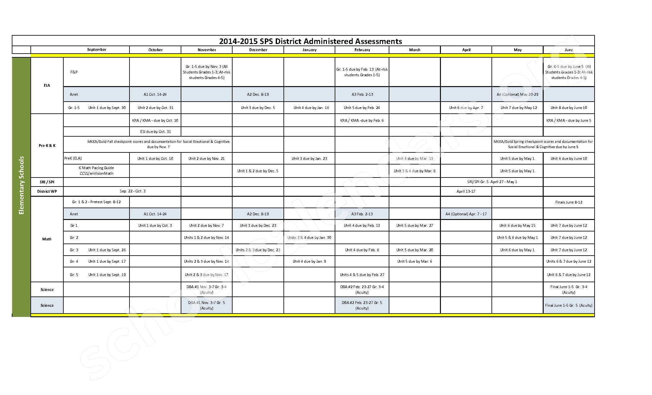 2014 2015 Assessment Calendar