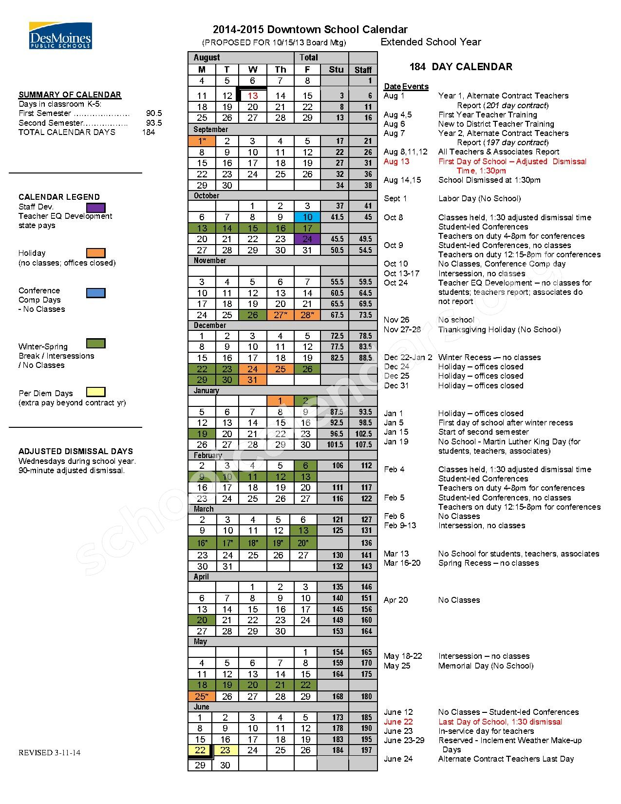 School Timetables 2015 2014 2015 Downtown School