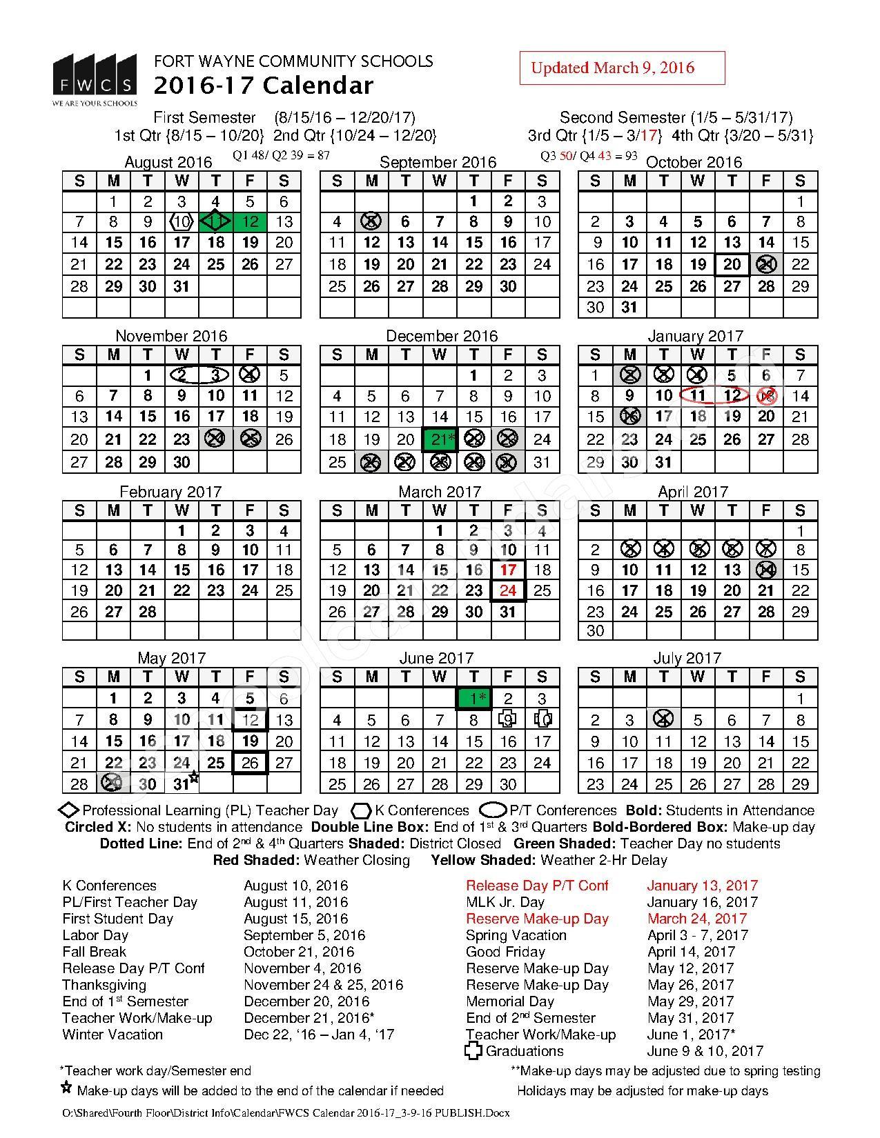 2016 - 2017 FWCS School Calendar – Fort Wayne Community Schools – page 1
