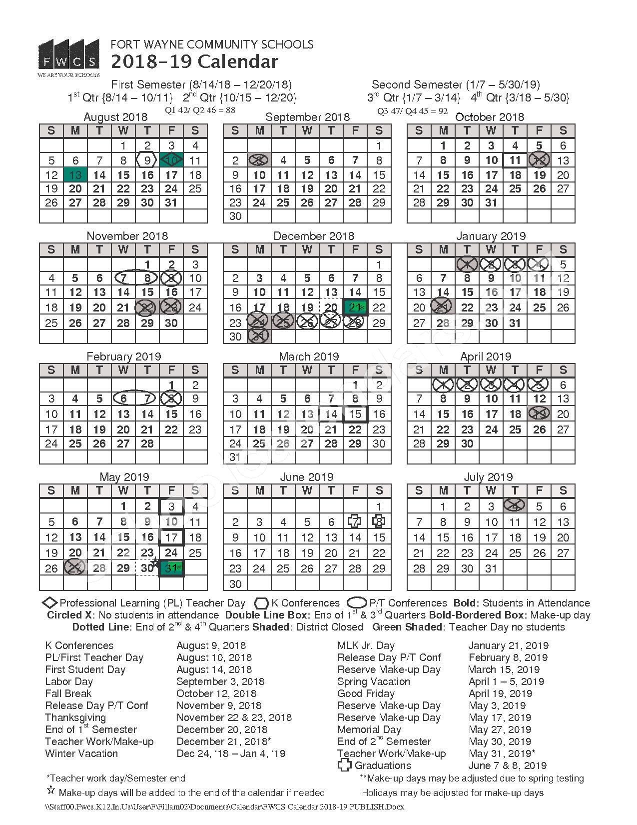 2018 - 2019 School Calendar – Fort Wayne Community Schools – page 1