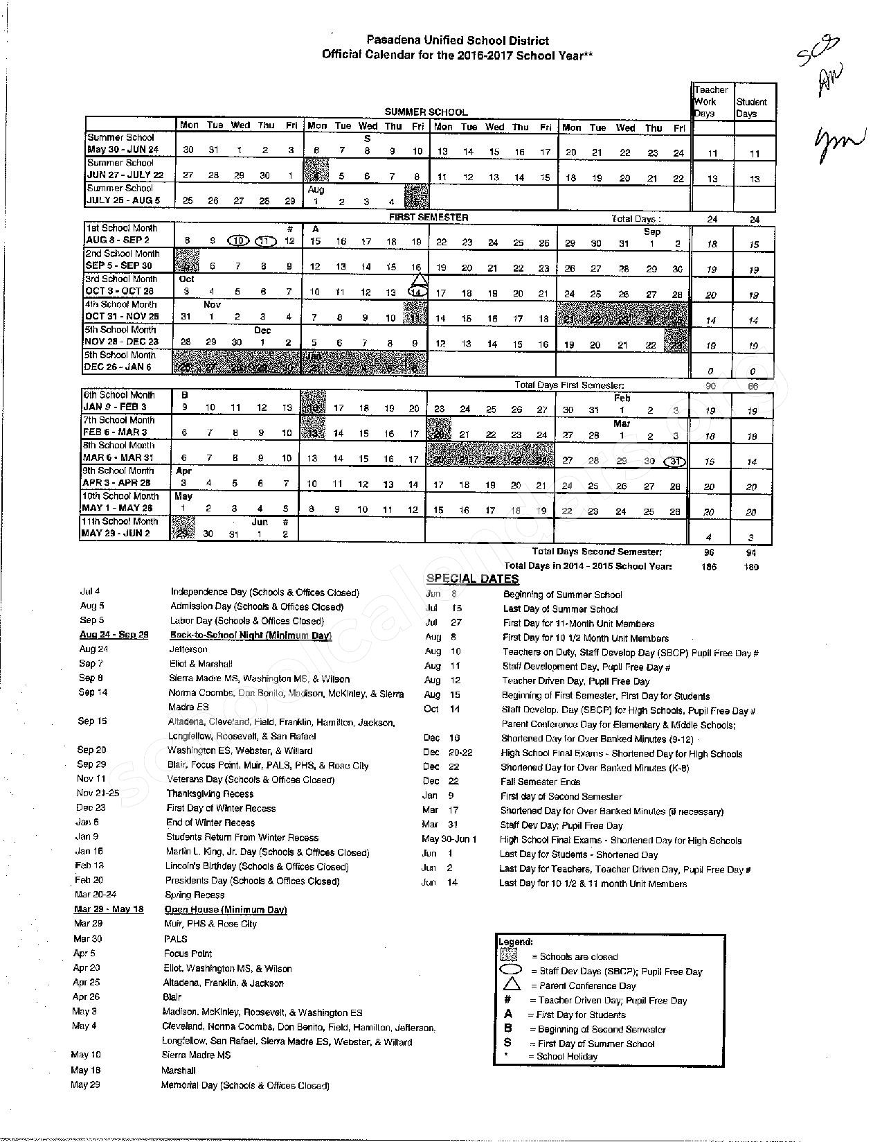 2016 - 2017 PUSD School Calendar – John Muir High School – page 1