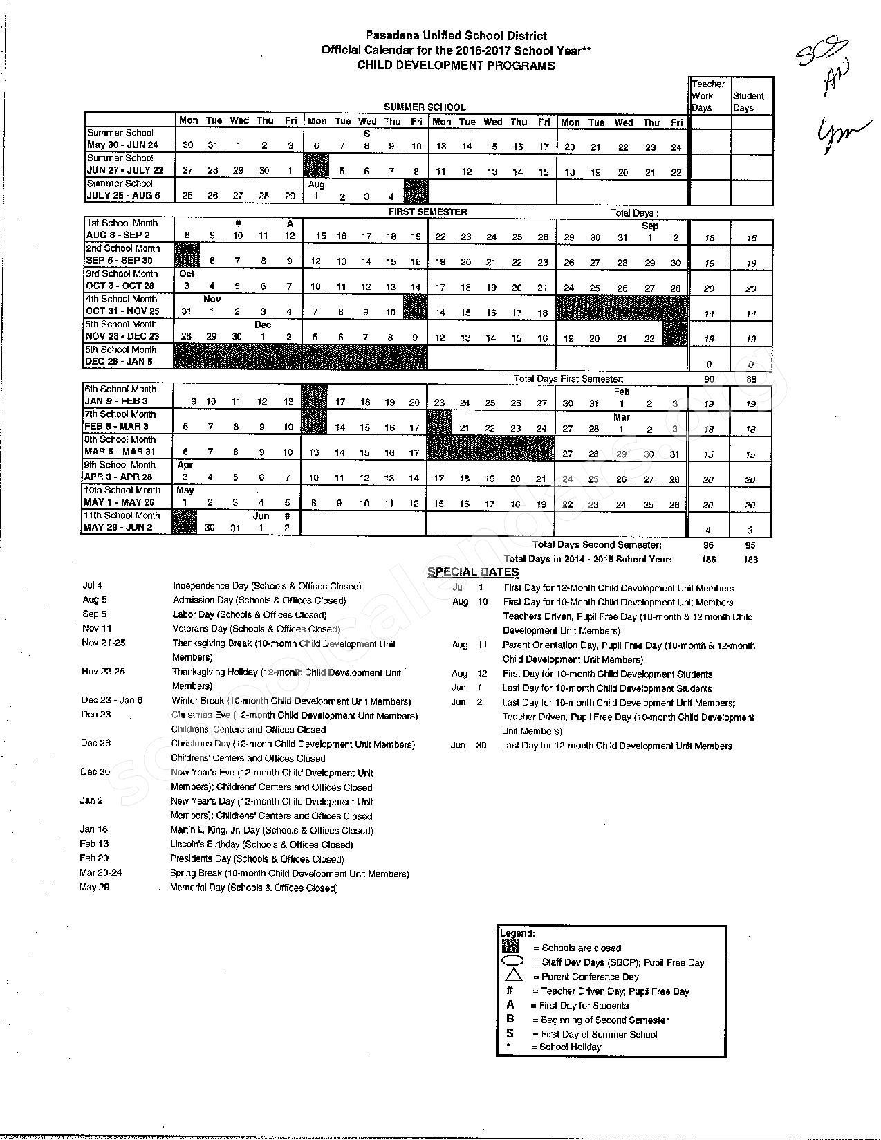 2016 - 2017 Early Childhood Development Programs Calendar – Field (Eugene) Elementary School – page 1