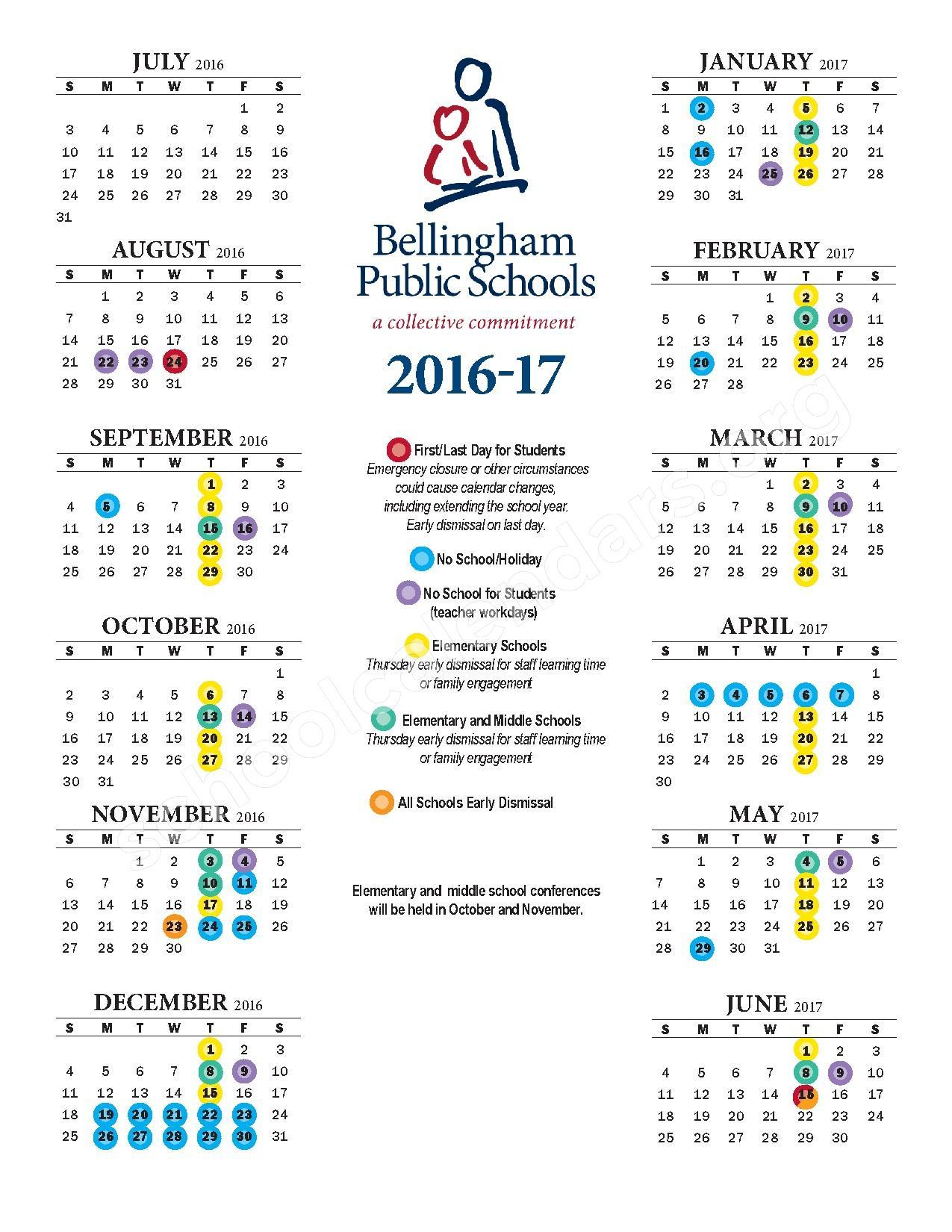 2016-17 School Year Calendar – Bellingham School District – page 1