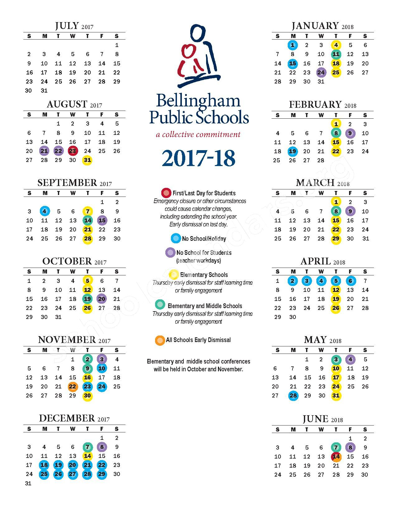 2017-18 School Year Calendar – Bellingham School District – page 1