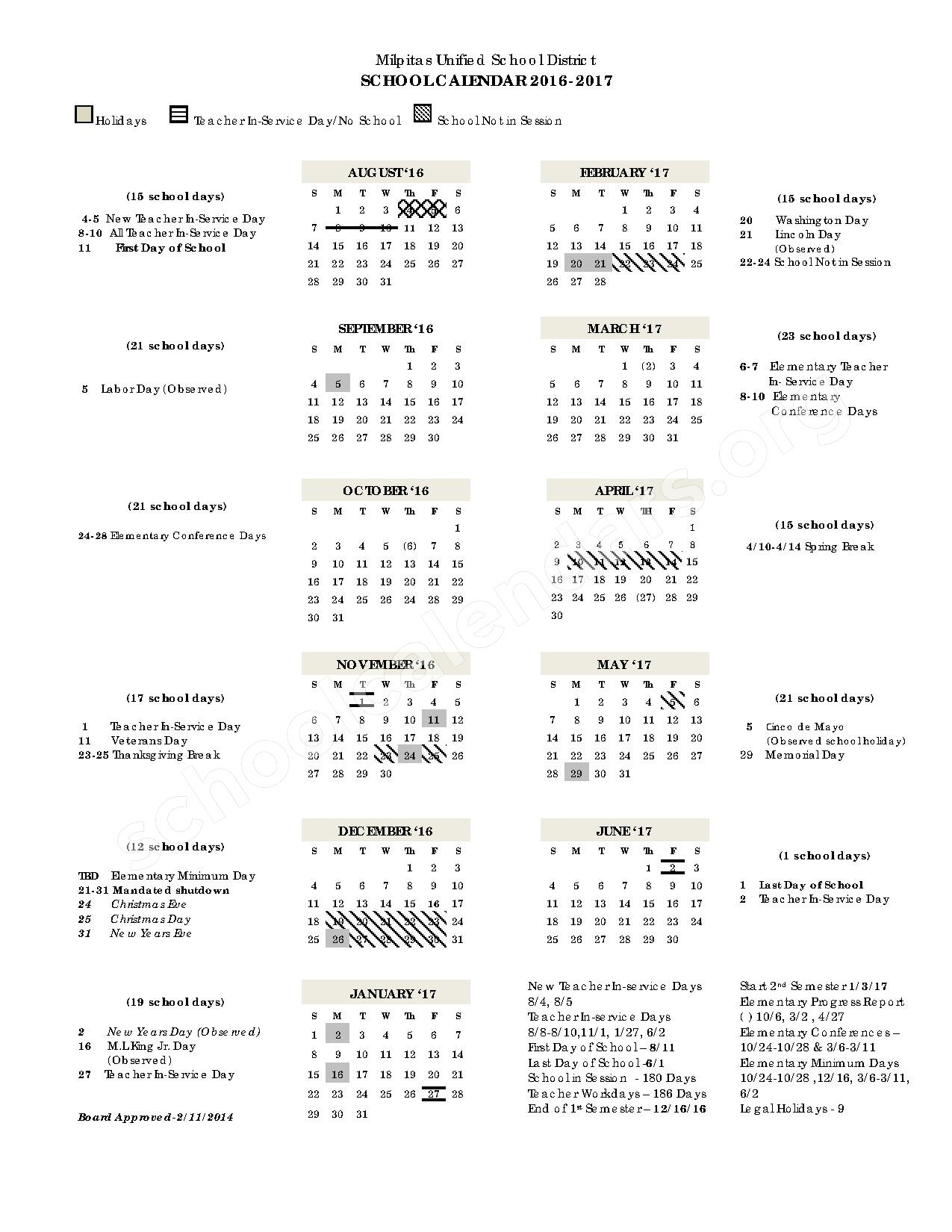 2016 - 2017 School Calendar – Milpitas Unified School District – page 1