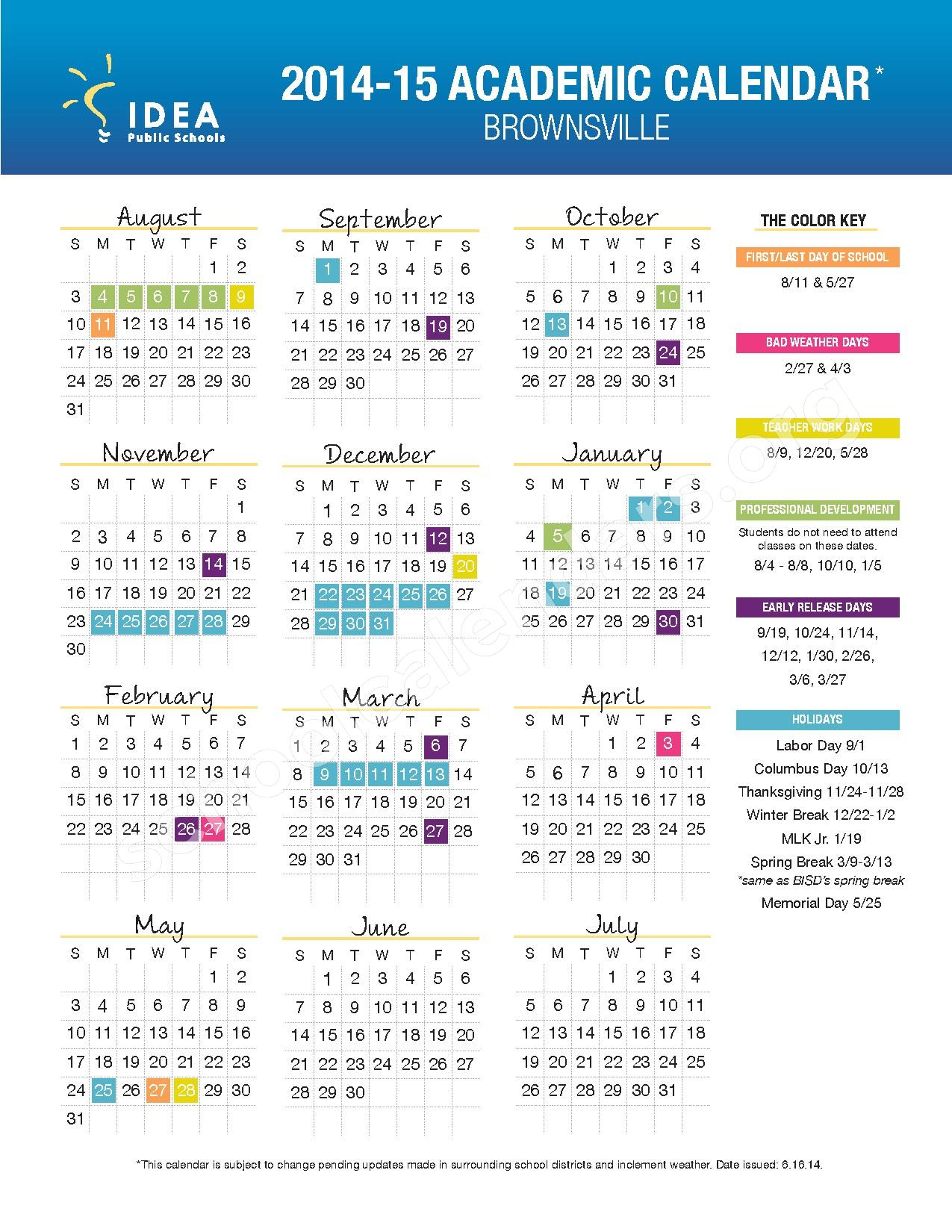 2014 2015 brownsville school calendar idea weslaco college preparatory weslaco tx