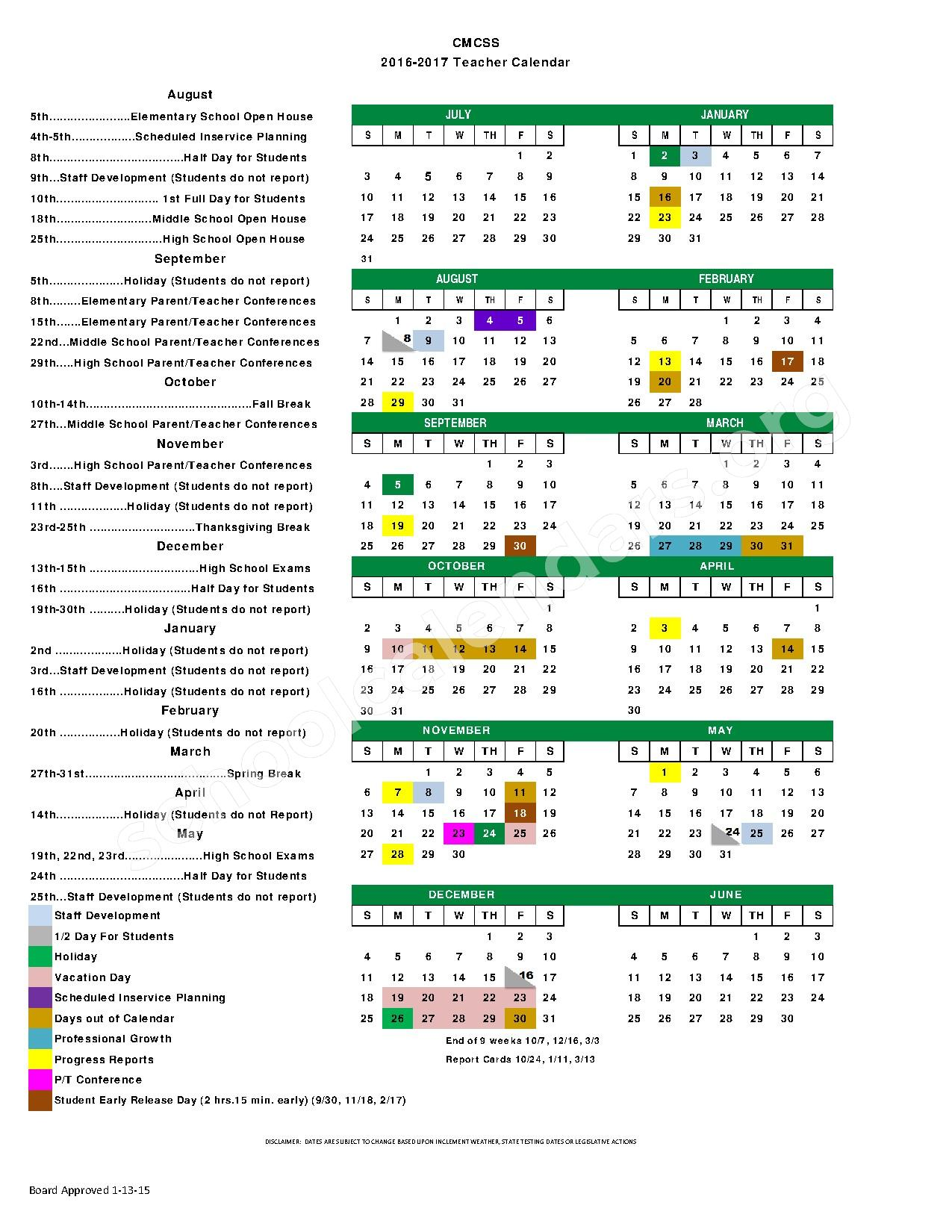 2016 - 2017 Teacher Calendar – Barkers Mill Elementary School – page 1