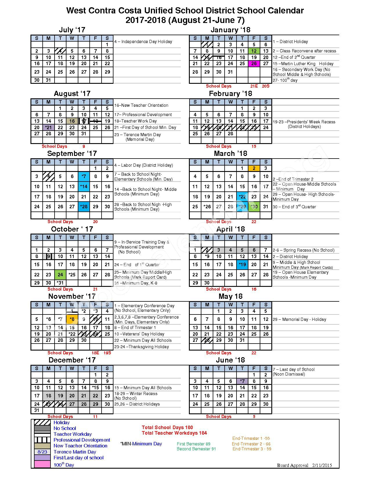 2017 - 2018 School Calendar – West Contra Costa Unified School District - Richmond – page 1