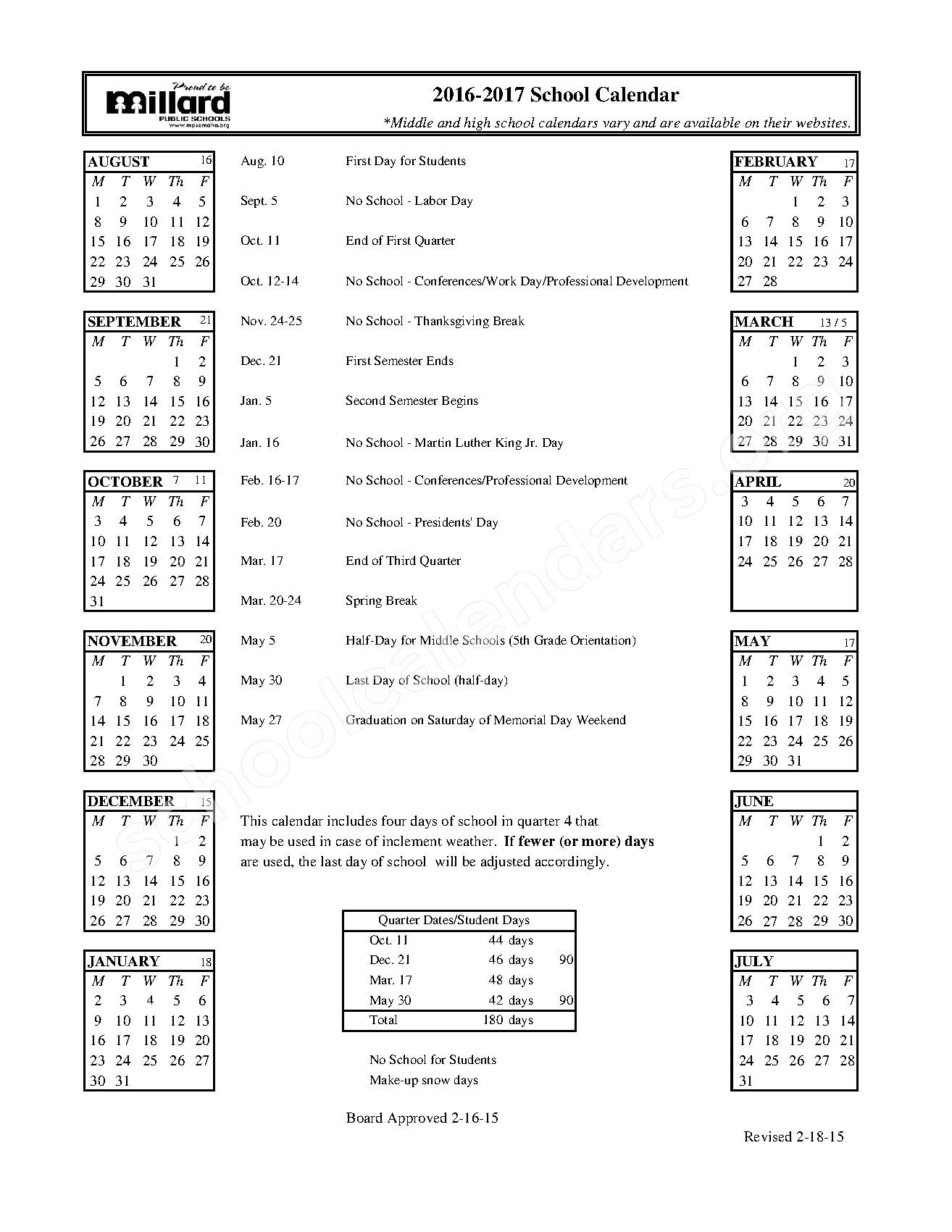 2016 - 2017 School Calendar – Kiewit Middle School – page 1