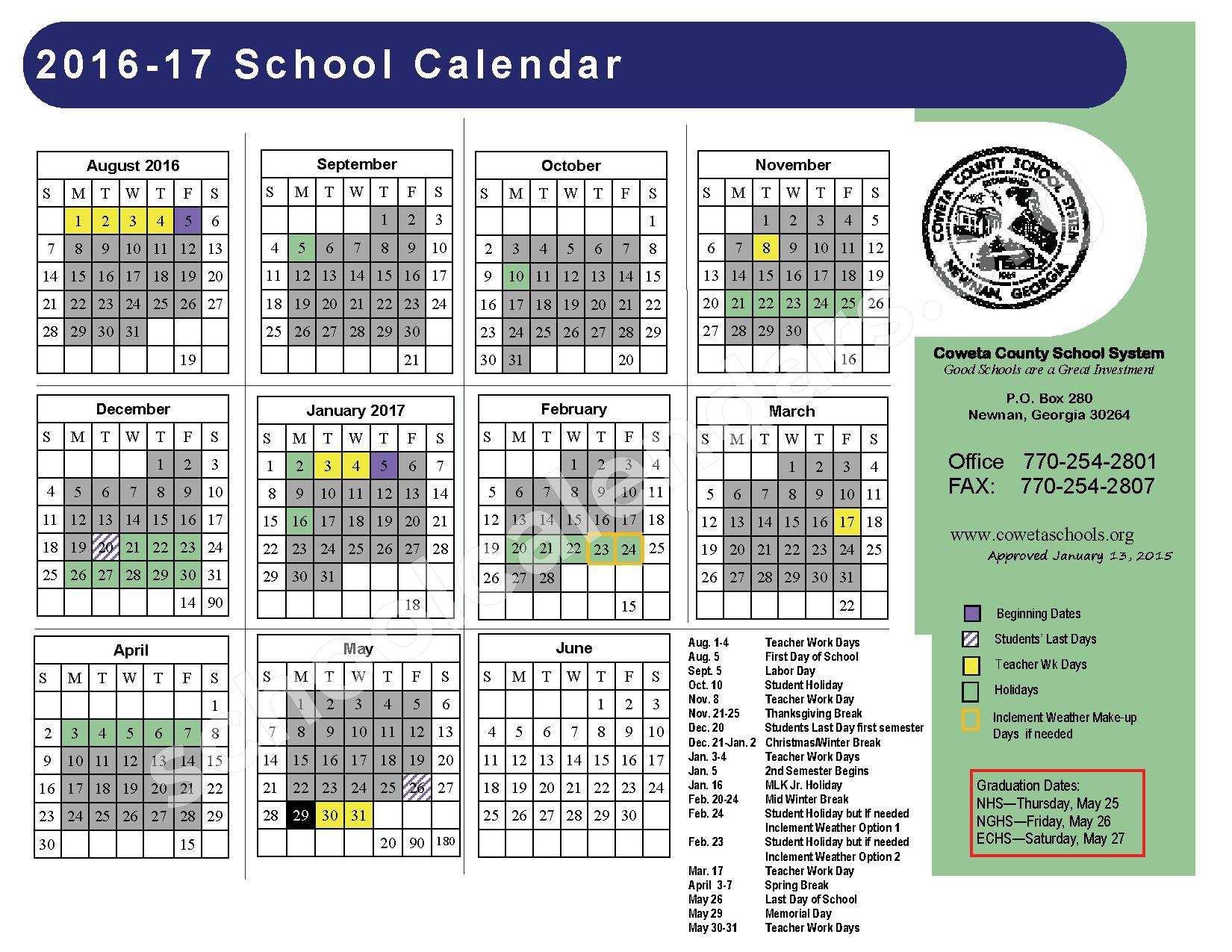 2016 - 2017 District Calendar – Arnco-Sargent Elementary School – page 1