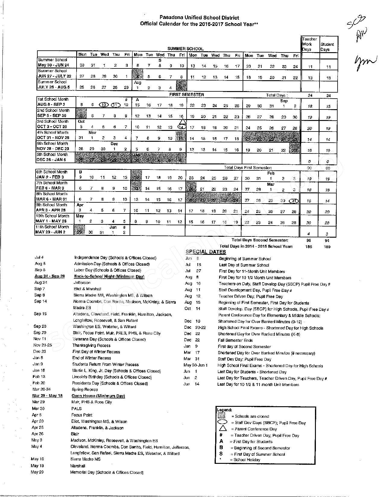 2016 - 2017 PUSD School Calendar – Field (Eugene) Elementary School – page 1