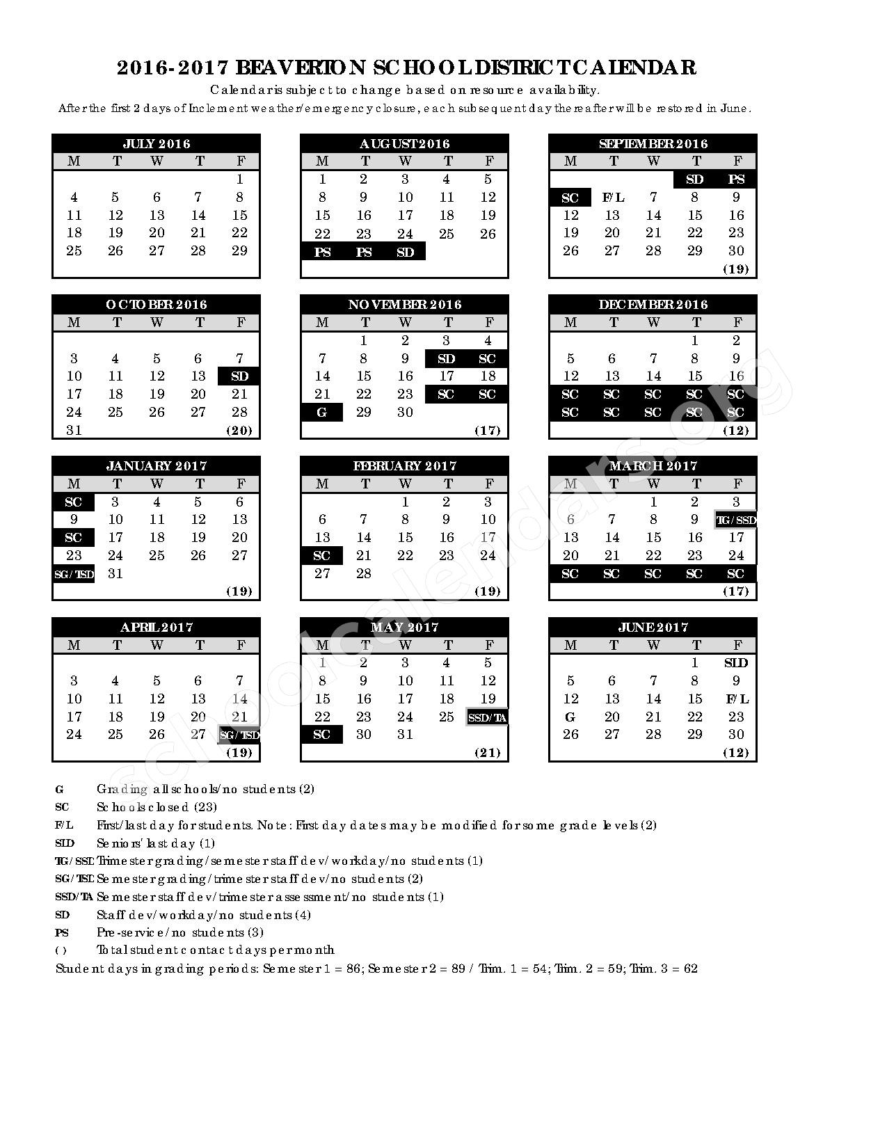 2016 - 2017 School Calendar – International School of Beaverton - High School – page 1