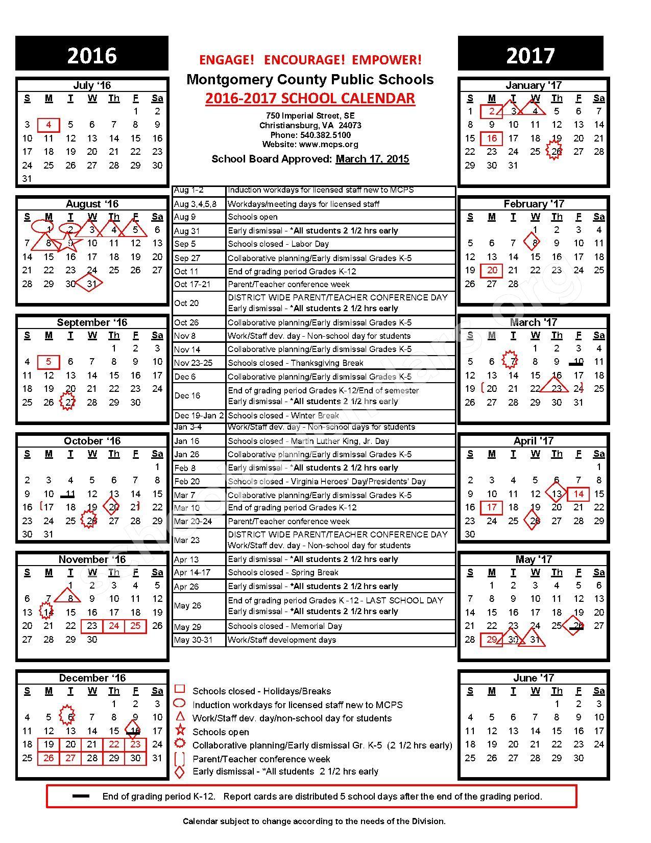 2016 - 2017 School Calendar – Montgomery County Public Schools – page 1