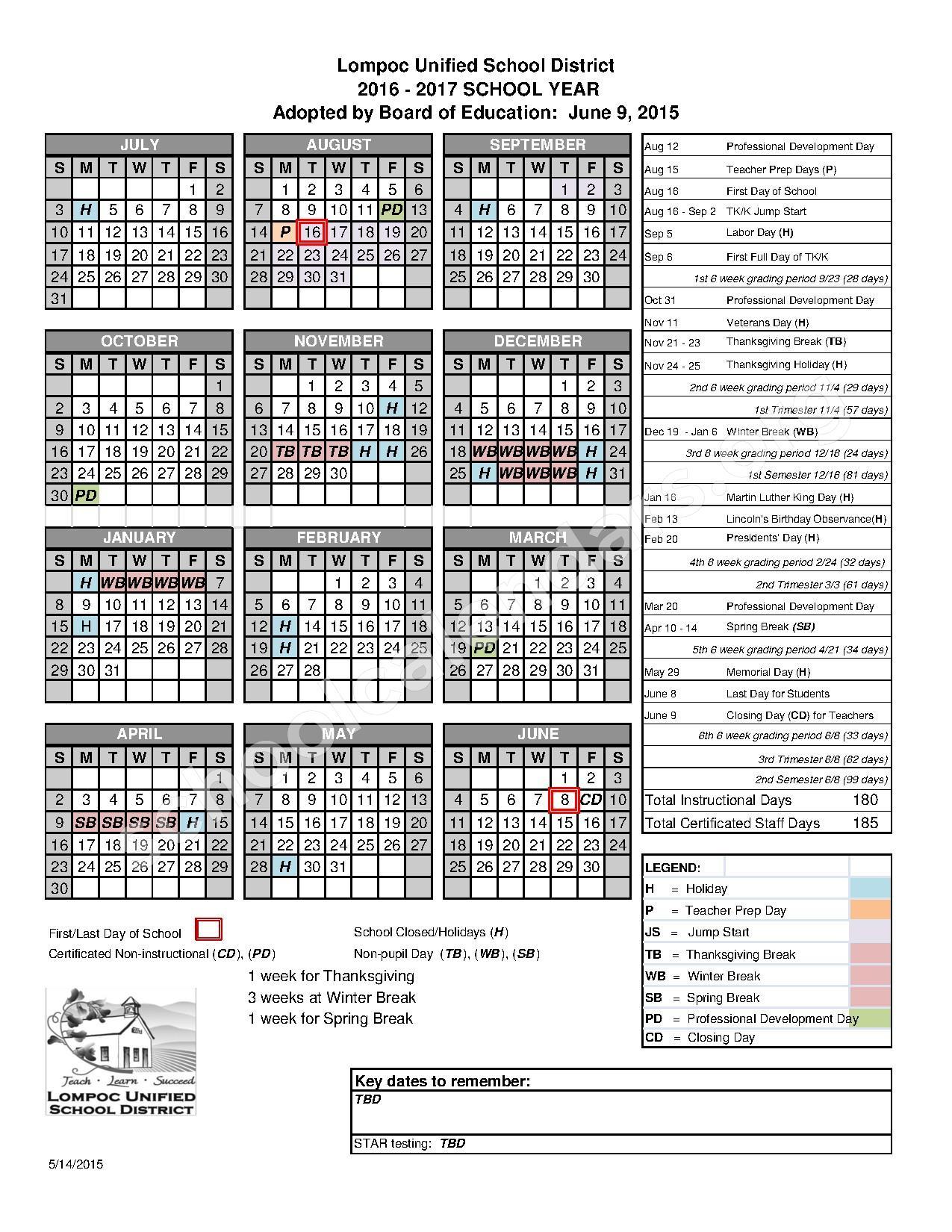 2016 - 2017 District Calendar – Lompoc Unified School District – page 1