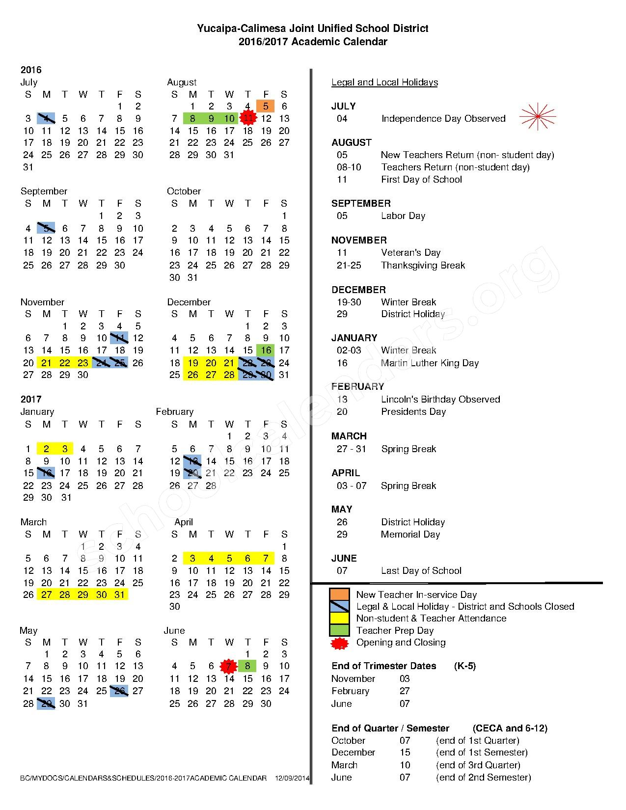 2016 - 2017 District Calendar – Yucaipa-Calimesa Joint Unified School District – page 1