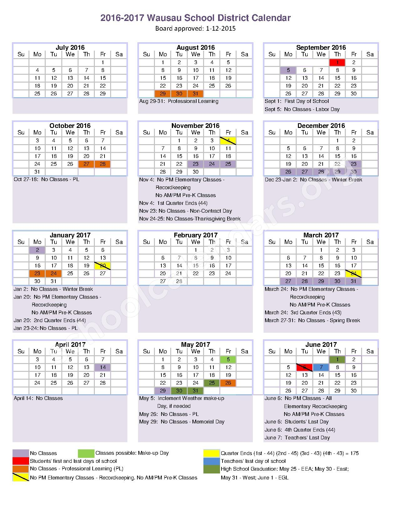 2016 - 2017 School Calendar – Wausau School District – page 1