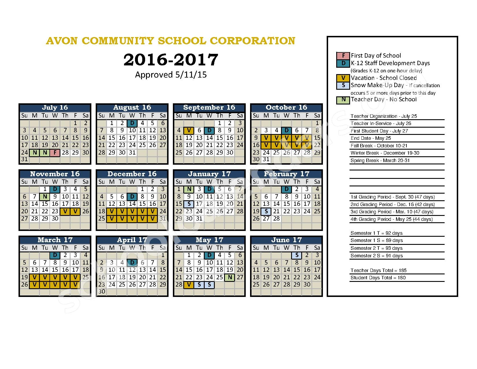 2016 - 2017 School Calendar – Avon High School – page 1