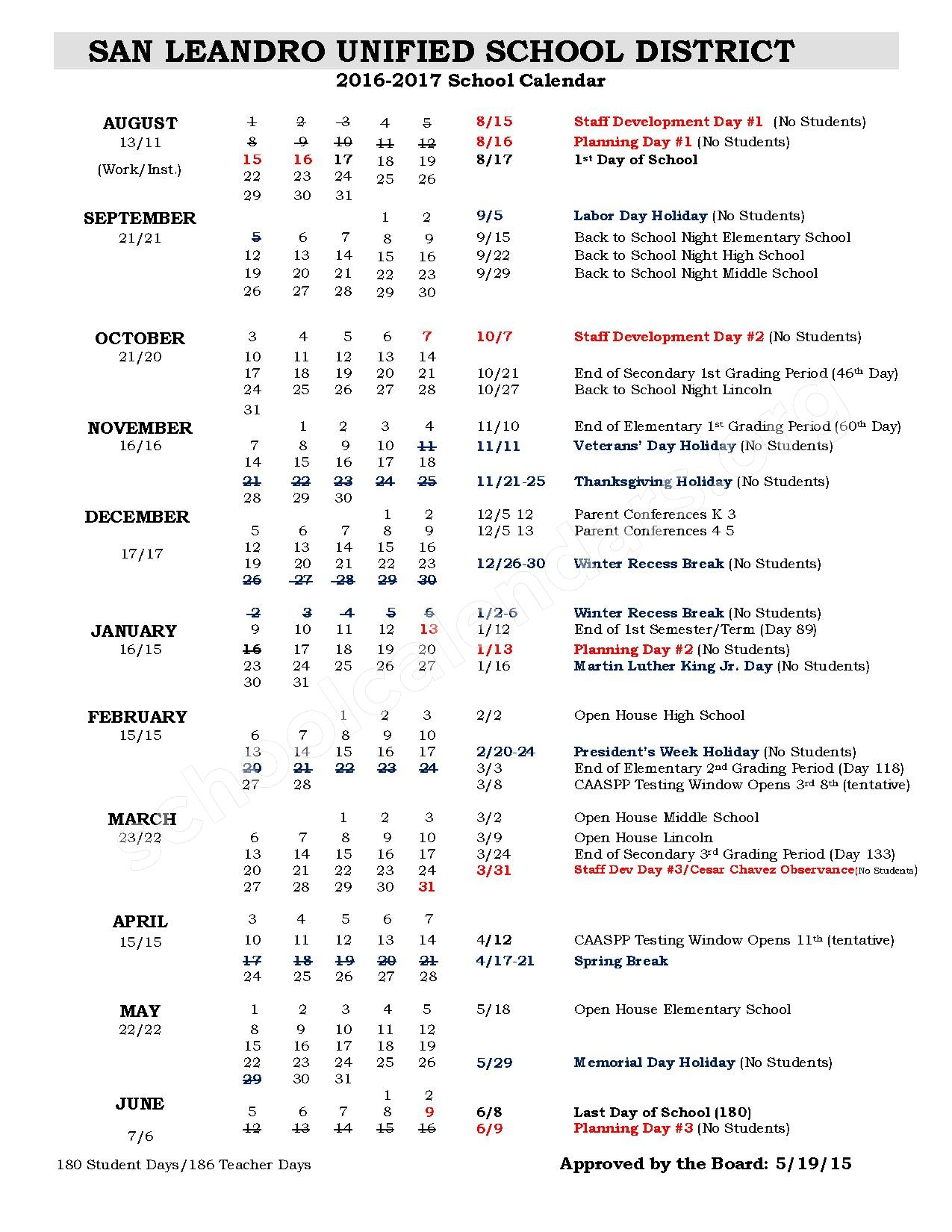 2016 - 2017 School Calendar – San Leandro Unified School District – page 1
