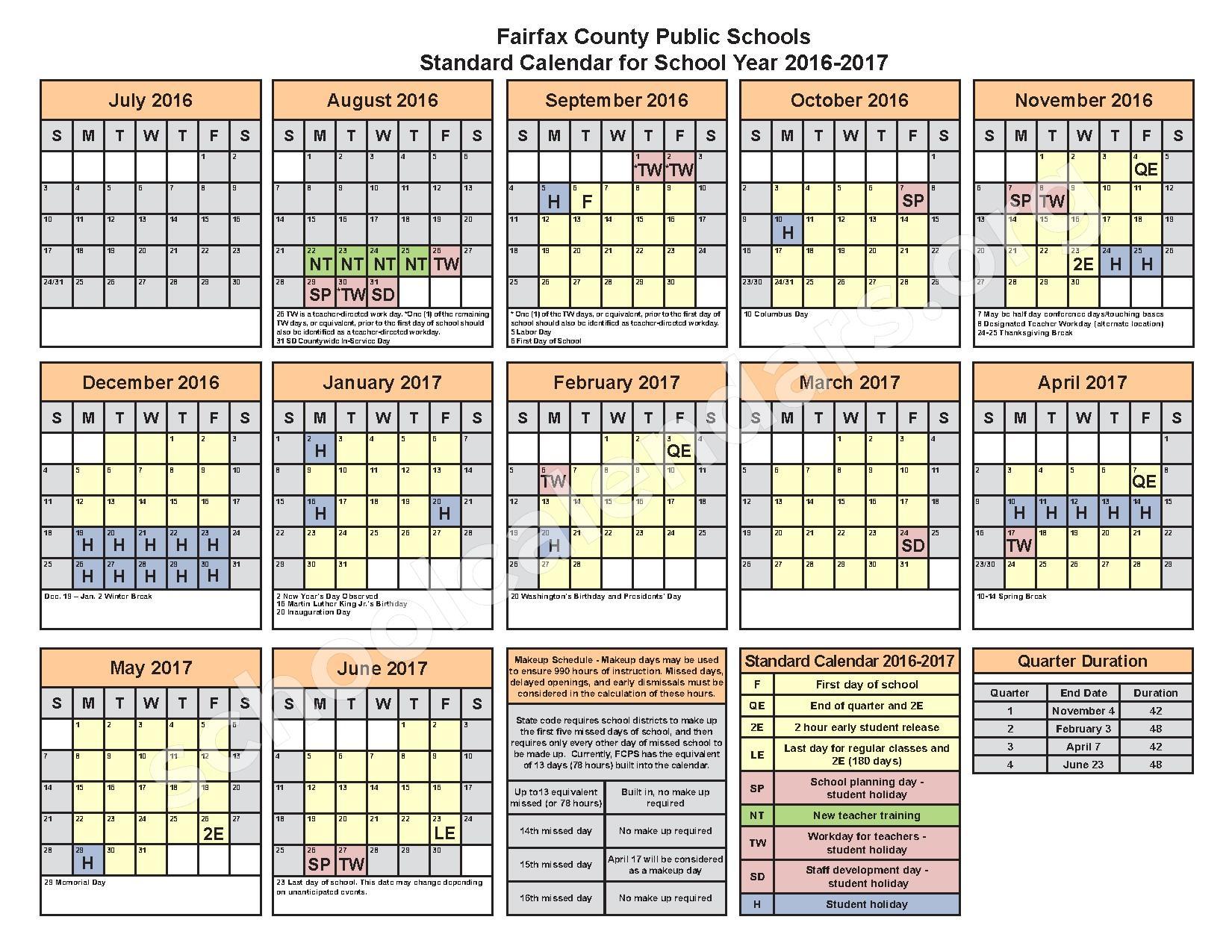 2016   2017 District Calendar | Fairfax County Public Schools