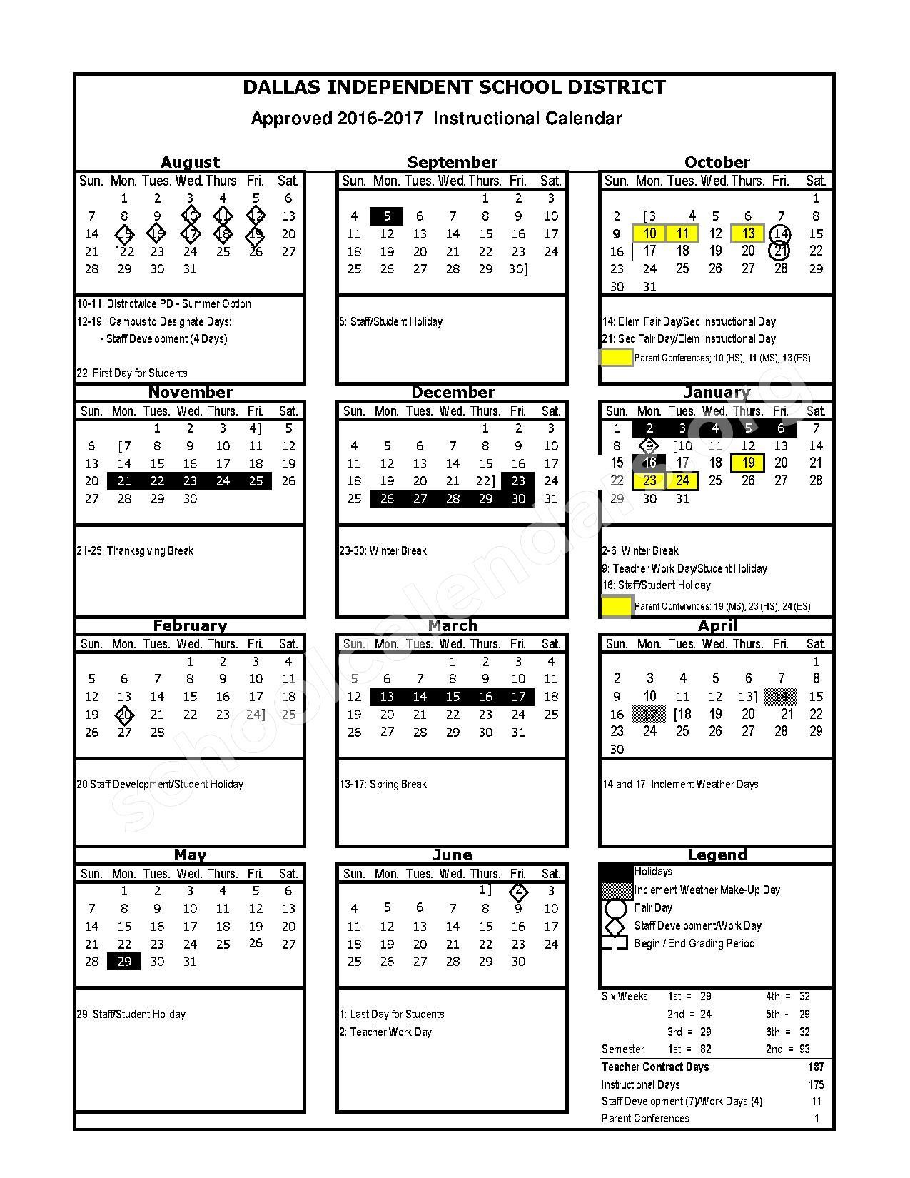 2016 - 2017 Instructional Calendar – Herbert Marcus Elementary School – page 1