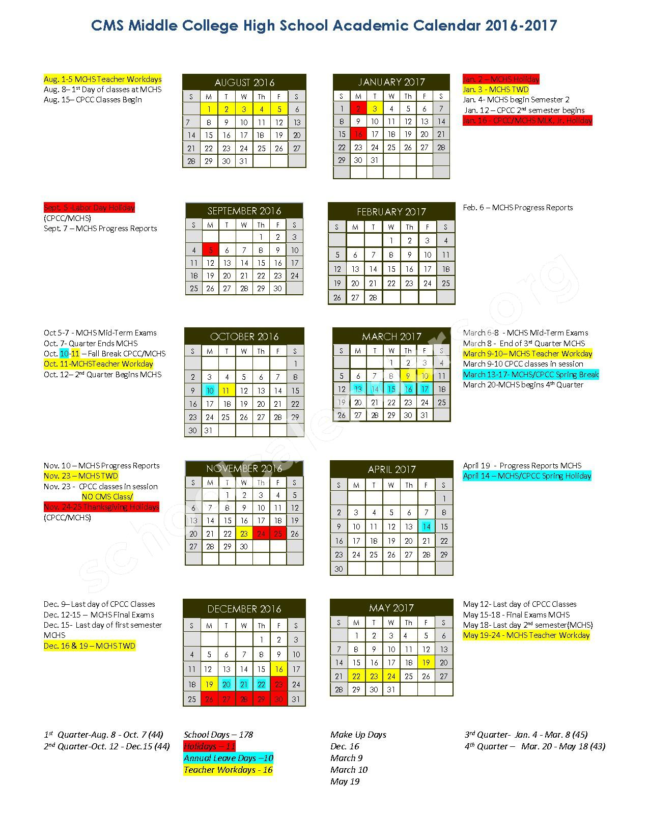 2016 - 2017 Middle College High School Calendar – Chantilly Montessori – page 1