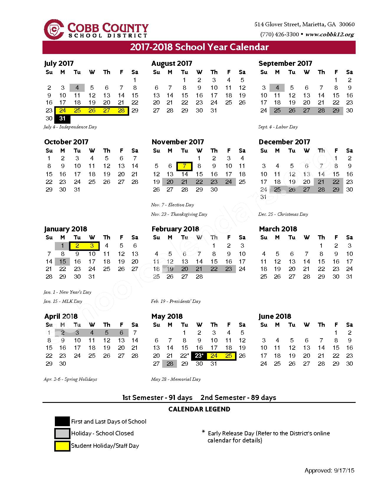 2017 - 2018 District Calendar – Cobb County School District – page 1