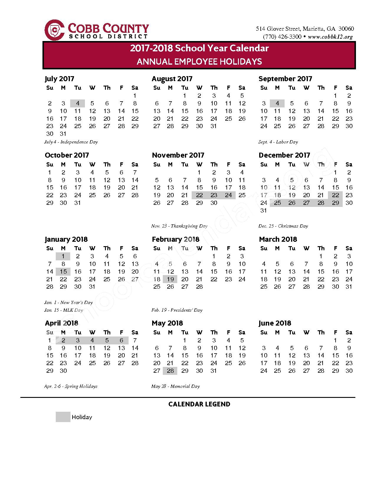 2017 - 2018 Annual Employee Holidays – Cobb County School District – page 1