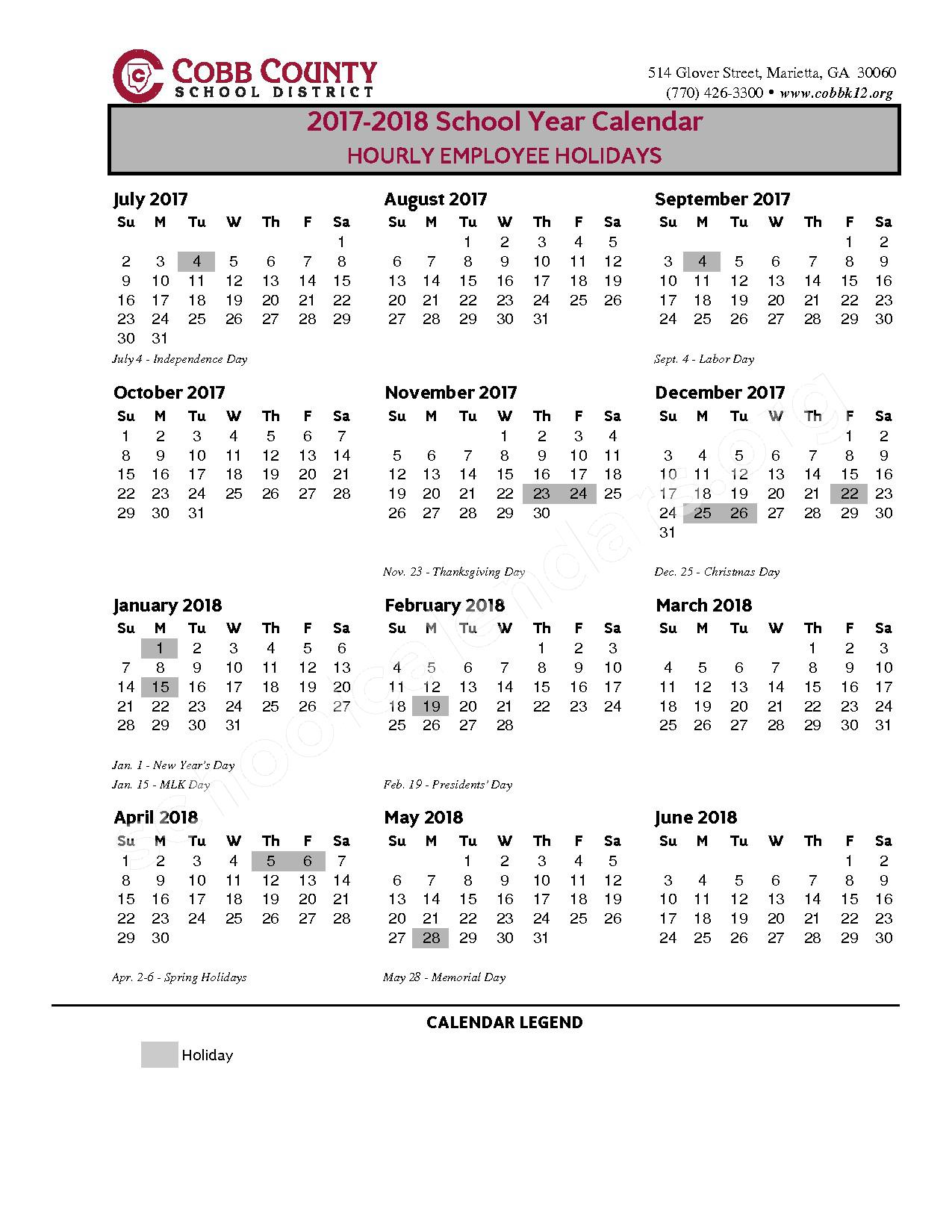 2017 - 2018 Hourly Employee Holidays – Cobb County School District – page 1