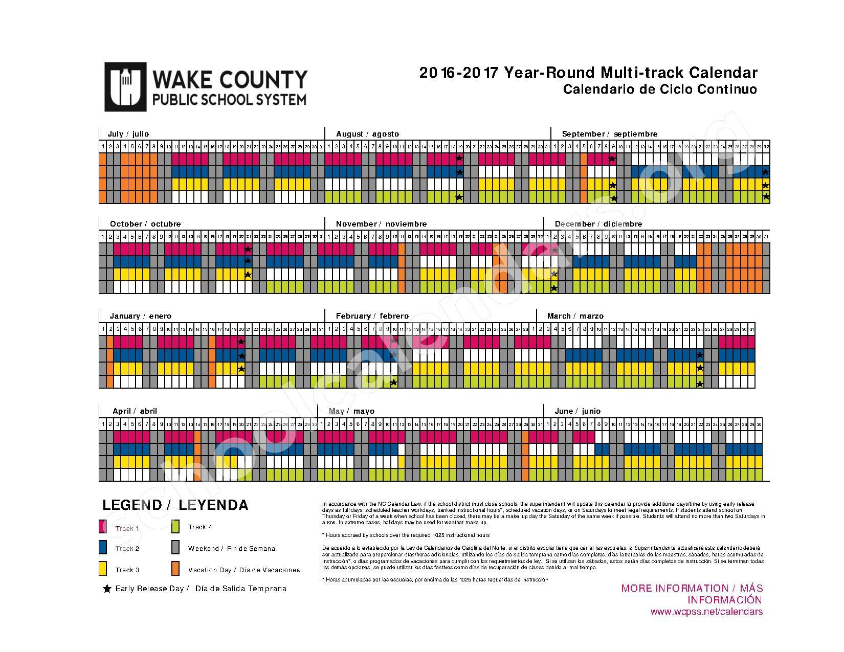 2016 - 2017 Year-Round Calendar – Jones Dairy Elementary School – page 1