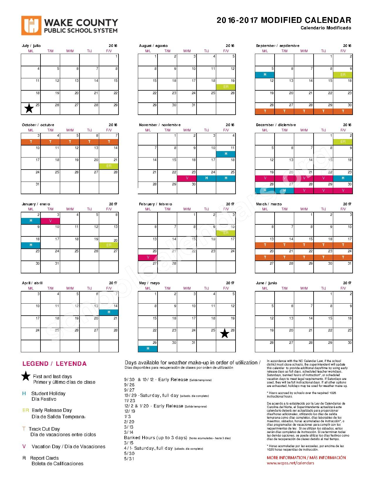 2016 - 2017 Modified Calendar – Wake County Public School System – page 1