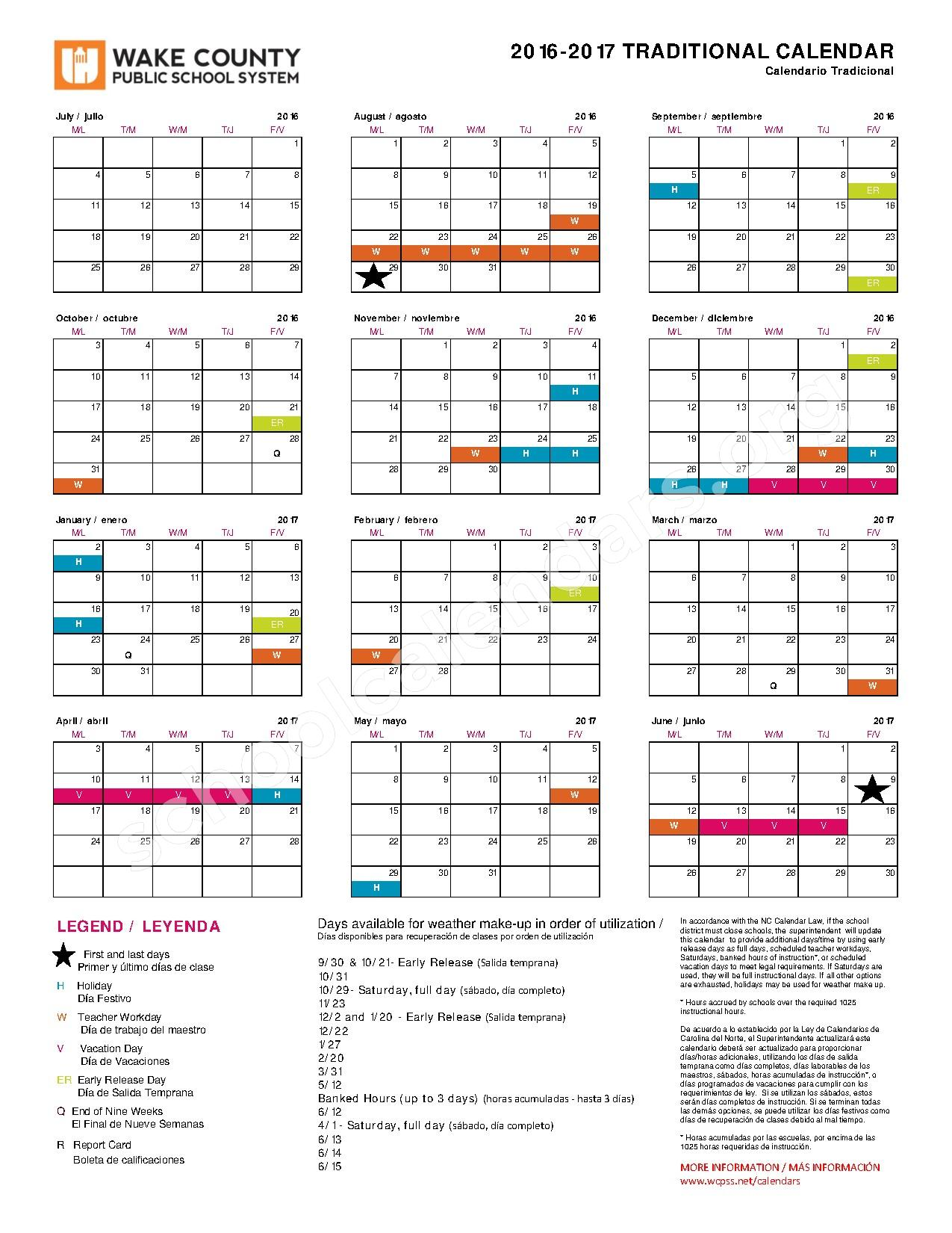 2016 - 2017 Traditional Calendar – Jones Dairy Elementary School – page 1