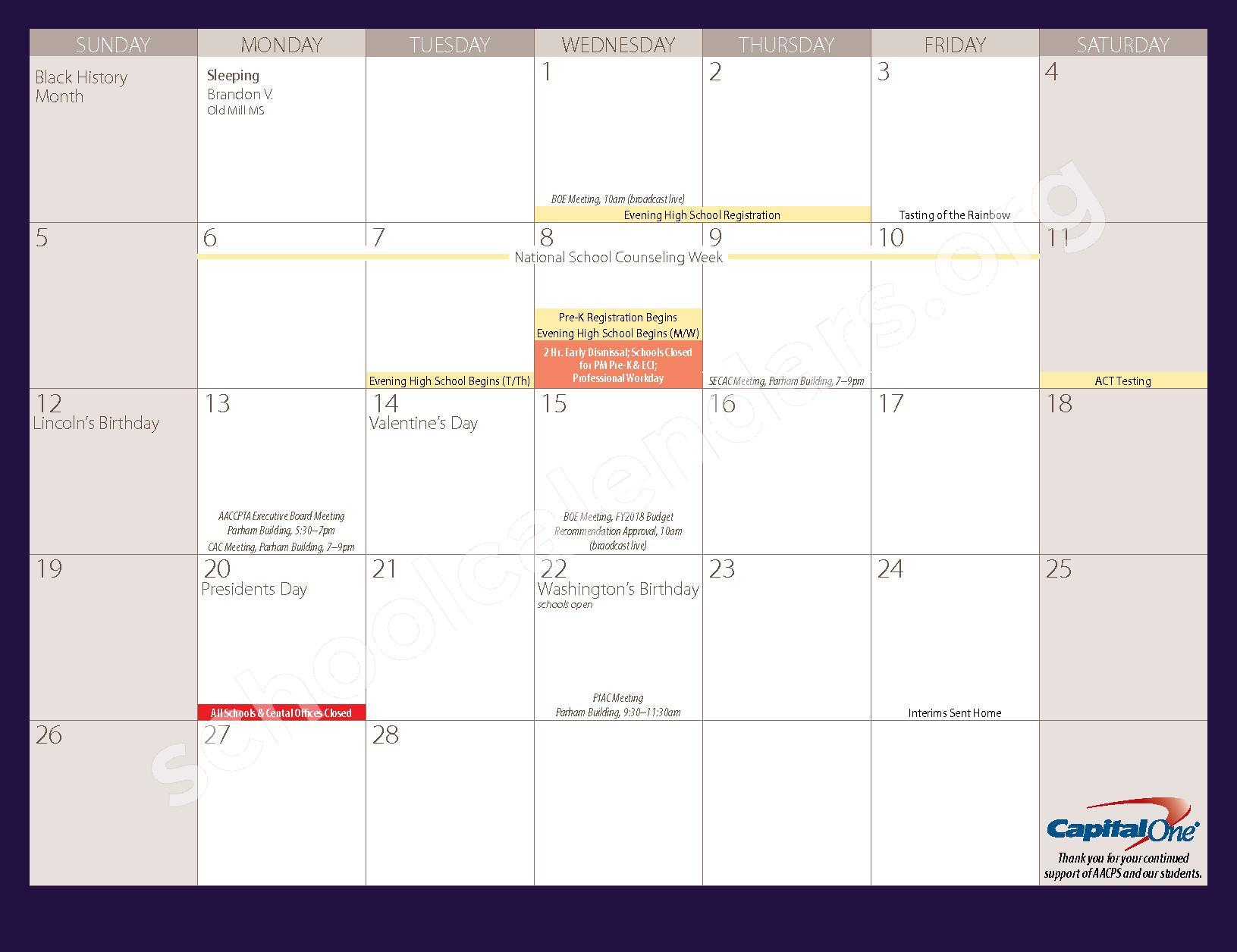 2016 - 2017 Parent Calendar – Anne Arundel County Public Schools – page 15