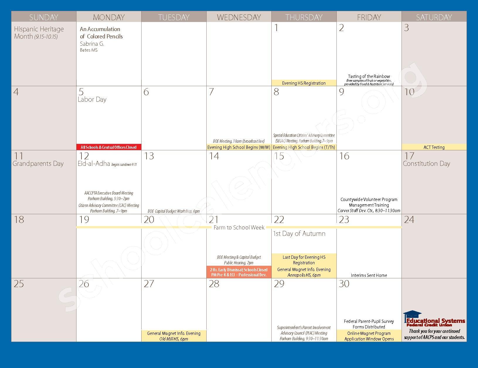 2016 - 2017 Parent Calendar – Anne Arundel County Public Schools – page 5