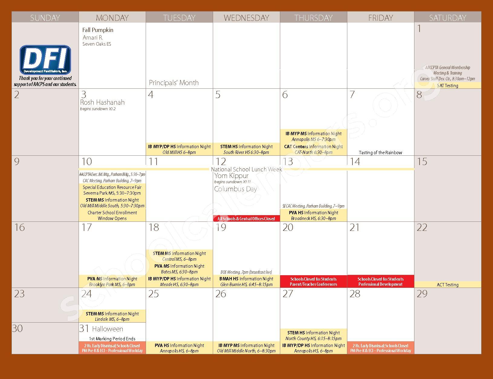 2016 - 2017 Parent Calendar – Anne Arundel County Public Schools – page 7