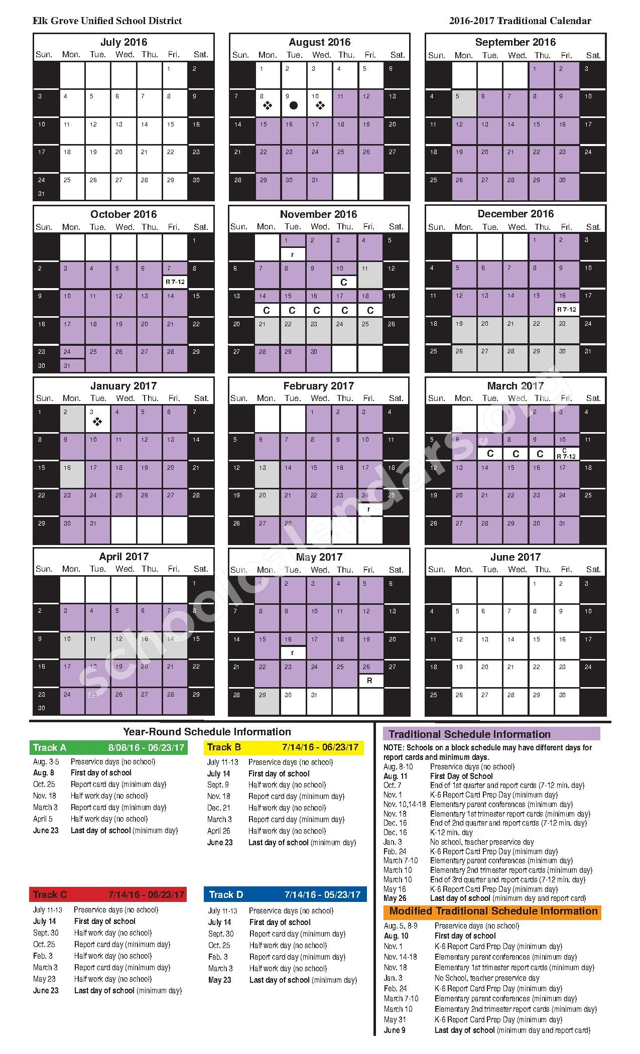 2016-2017 Traditional Calendar – Mary Tsukamoto Elementary School – page 1