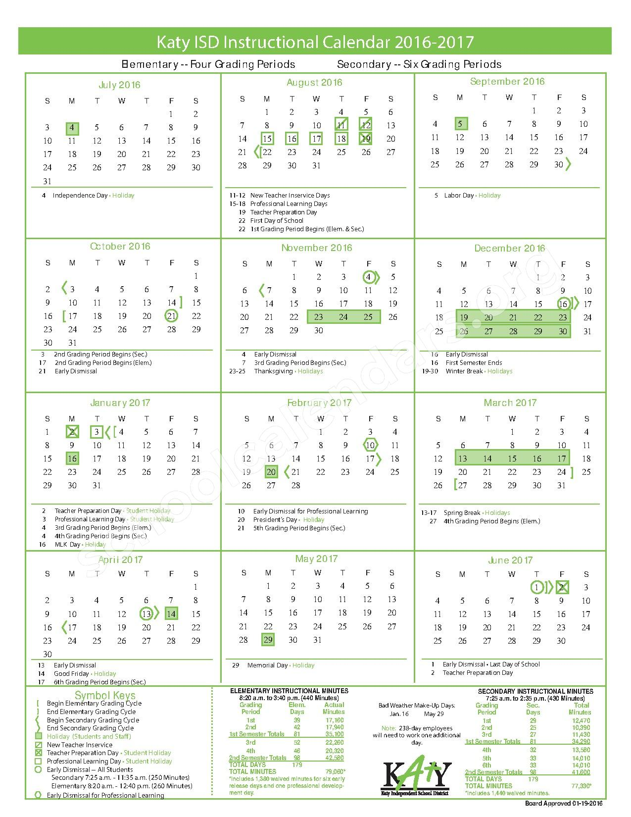 2016 - 2017 Instructional Calendar – Memorial Parkway Elementary School – page 1