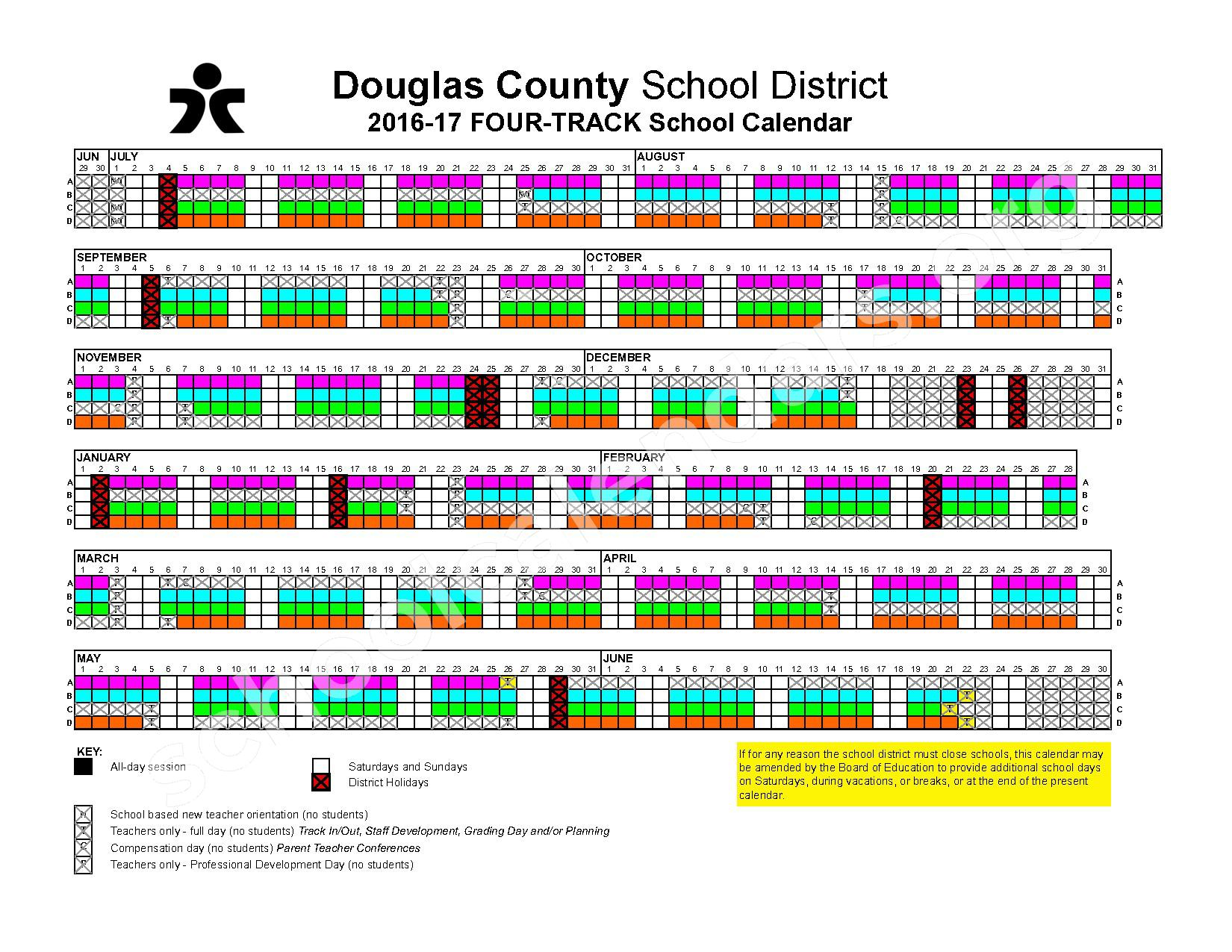2016 - 2017  Four-Track School Calendar – Douglas County School District – page 1