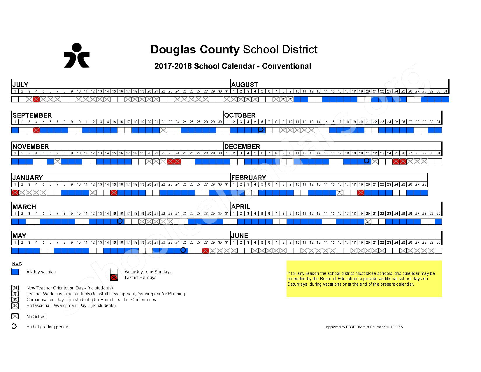 2017 - 2018 Conventional School Calendar – Douglas County School District – page 1