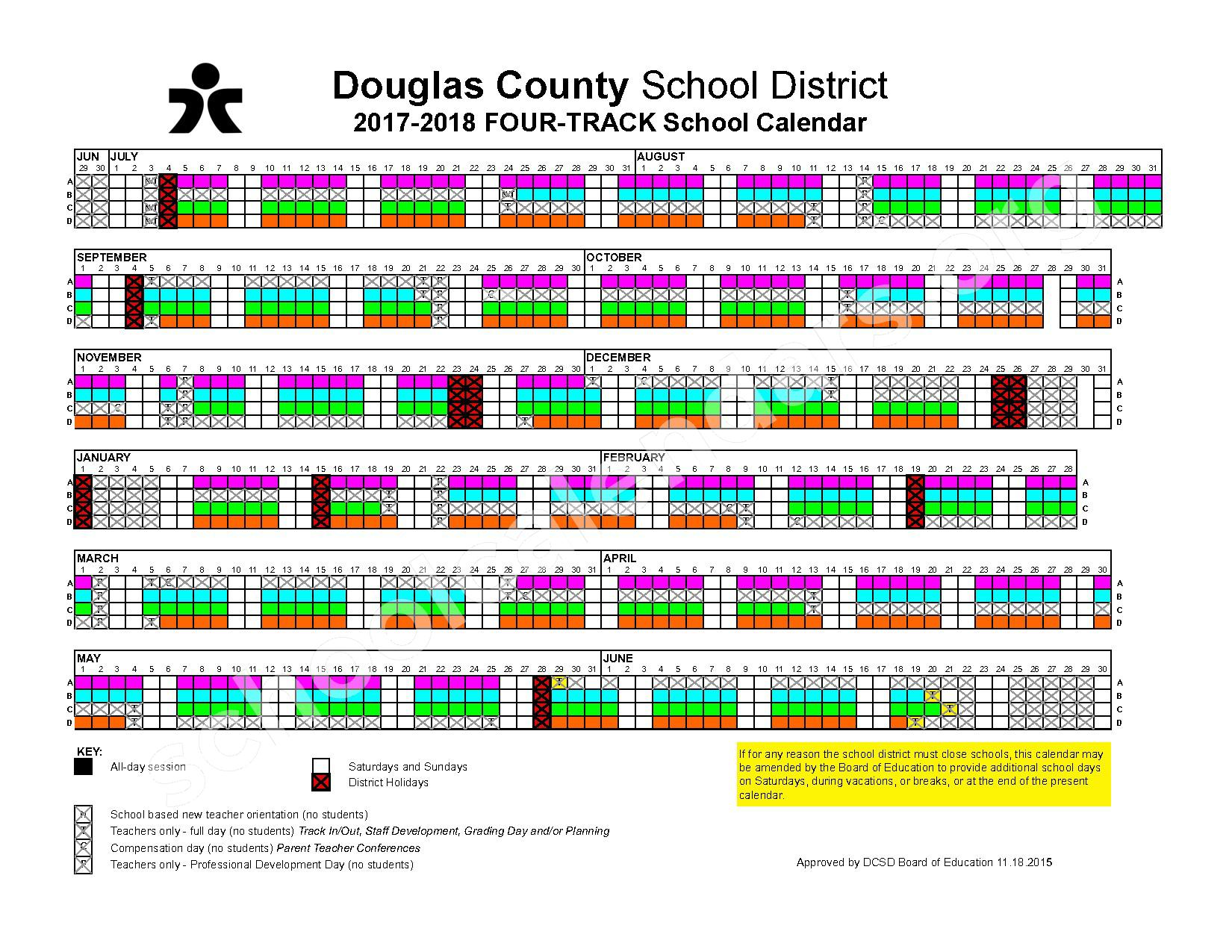 2017 - 2018 Four-Track Calendar – Douglas County School District – page 1