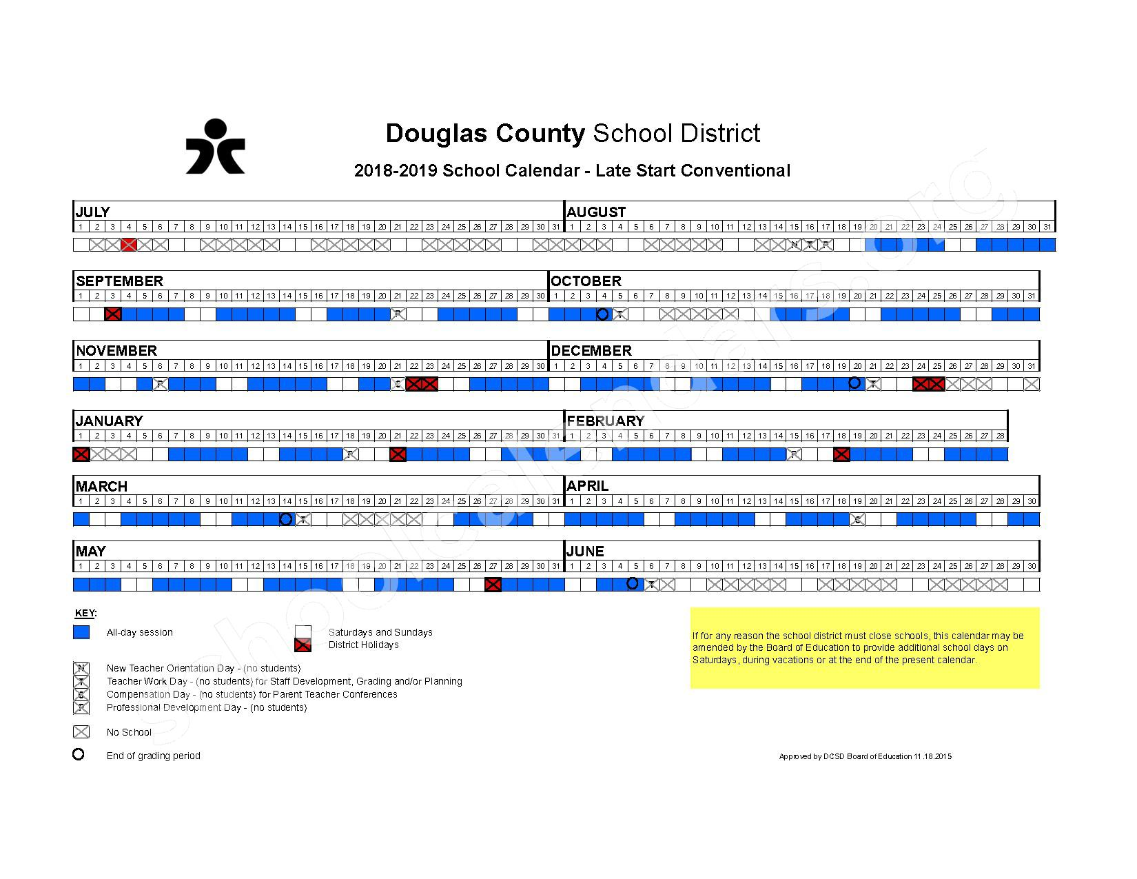 2018 - 2019 Late Start Conventional Calendar – Douglas County School District – page 1