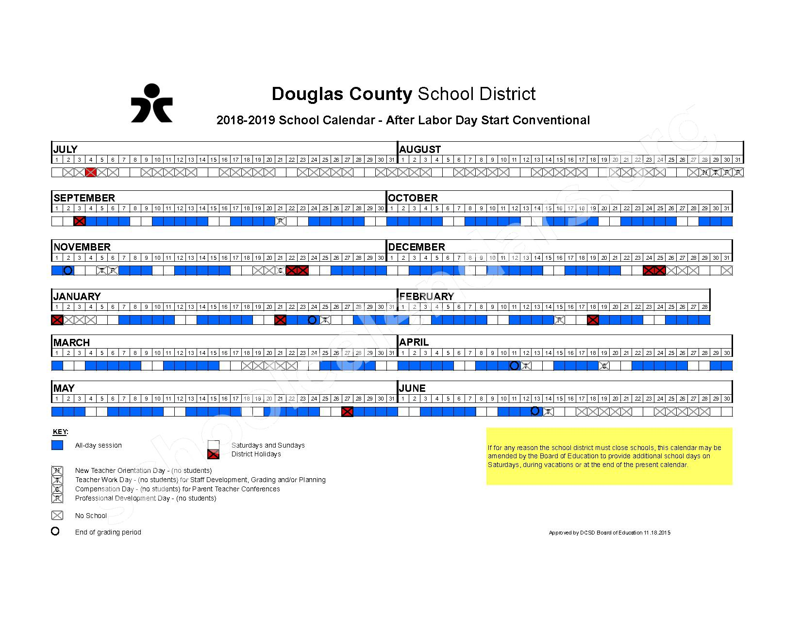 2018 - 2019 After Labor Day Start Conventional Calendar – Douglas County School District – page 1