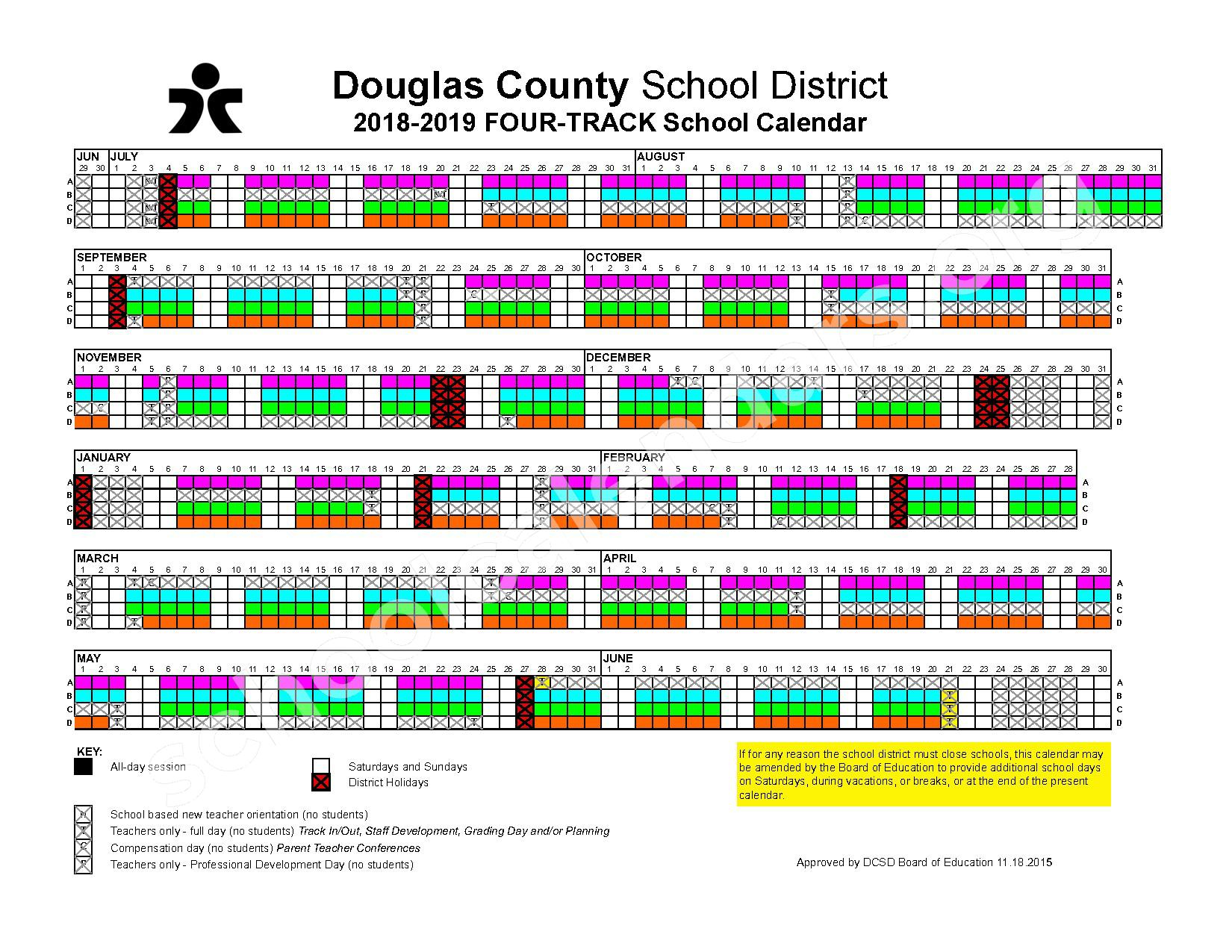 2018 - 2019 Four-Track Calendar – Douglas County School District – page 1