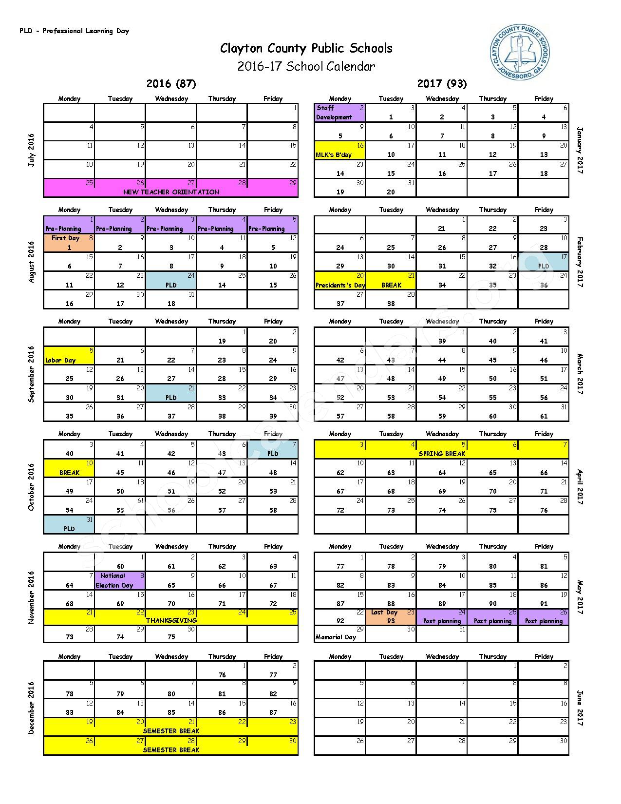 2016 - 2017 School Calendar – Jonesboro Middle School – page 1