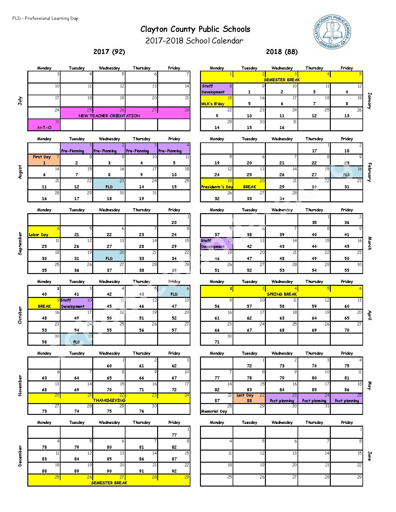 2017 - 2018 School Calendar – South Metro Psychoeducational Program – page 1